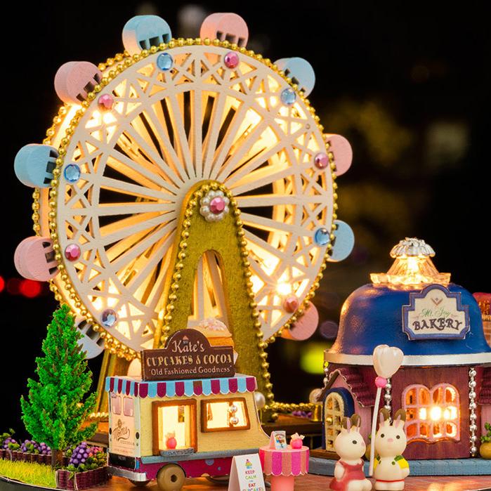 摩天輪水晶球DIY八音盒木質天空之城音樂盒女生生日快樂 兒童