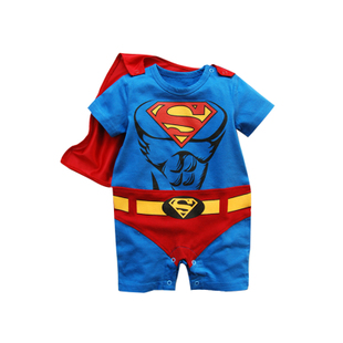 Baby coveralls summer 3 6 months male baby clothes Superman modeling Romper climbing clothes 1 2 3 year old children in summer