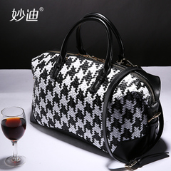 Miao di 2015 new woven leather women bag thousands of birds Pack black and white color diagonal bag handbag shoulder bag