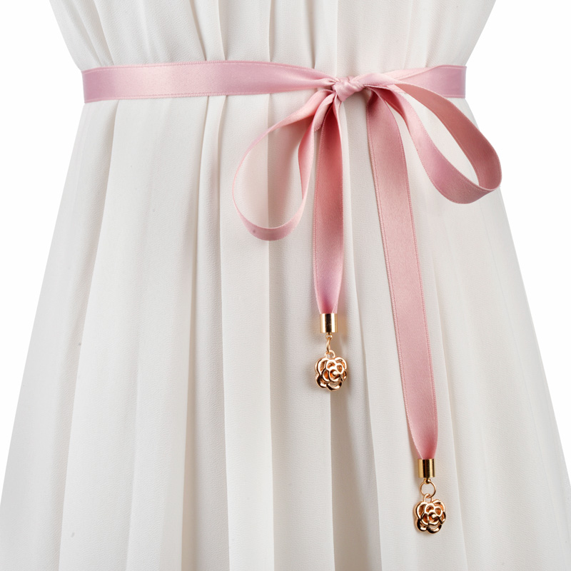 韩版玫瑰花女甜美打结装饰配细腰带