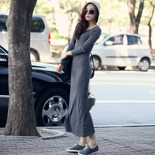 Poetry Xu 2015 new Korean women cotton thicker section sleeved tight hip jumpsuit dress
