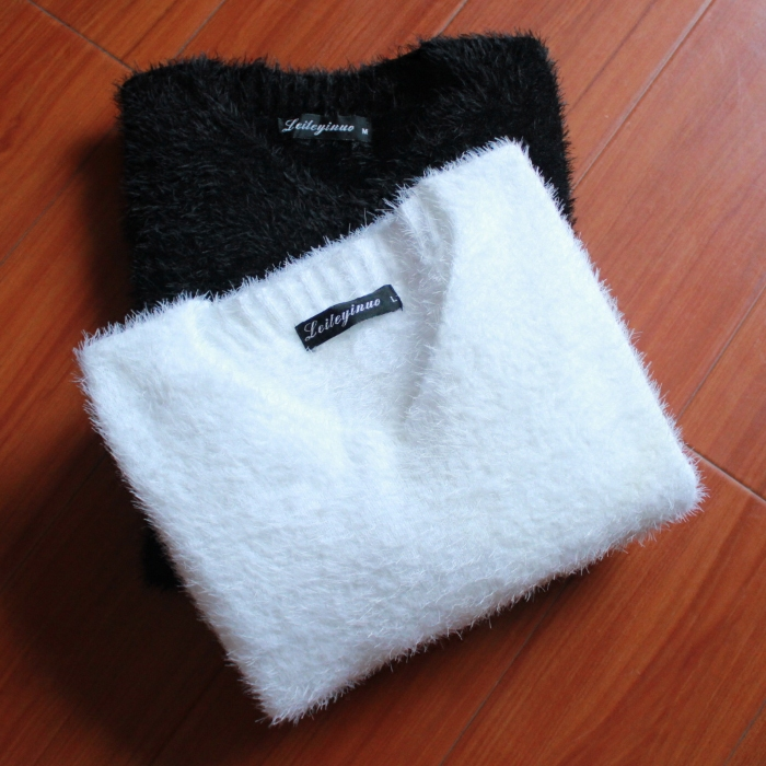 Winter mens sweater T-shirt V-neck with backing coat winter warm clothes mens Plush sweater mens sweater