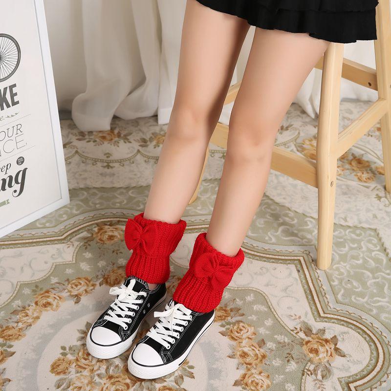 花潮花汐秋冬加厚蝴蝶结短款袜套毛线宽松女堆堆袜靴套鞋套护腿潮