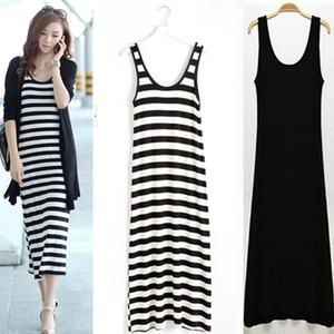 韩版夏季打底长裙小黑裙吊带裙莫代尔背心裙黑白条纹无袖连衣裙