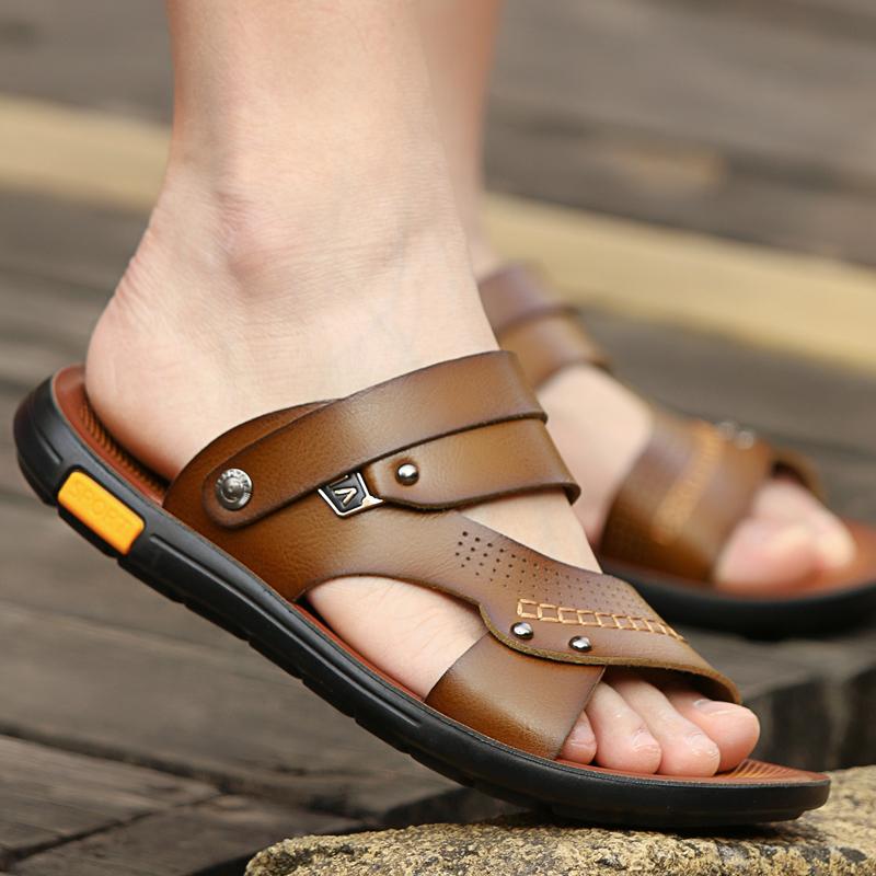 Лето мода мужской сандалии натуральная кожа случайный песчаный пляж обувной скольжение корейский шлепанцы мужчина двойной лето приток мужчин прохладно торможение
