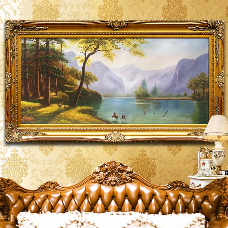 Ручной работы континентальный пейзаж гостиная живопись рог изобилия родник фэн-шуй спальня картины диван фон стена декоративный живопись