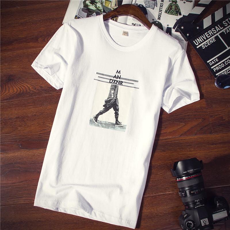 男士短袖t恤�棉�A�I��松夏季新款男�b潮流半袖大�a�w恤白色衣服