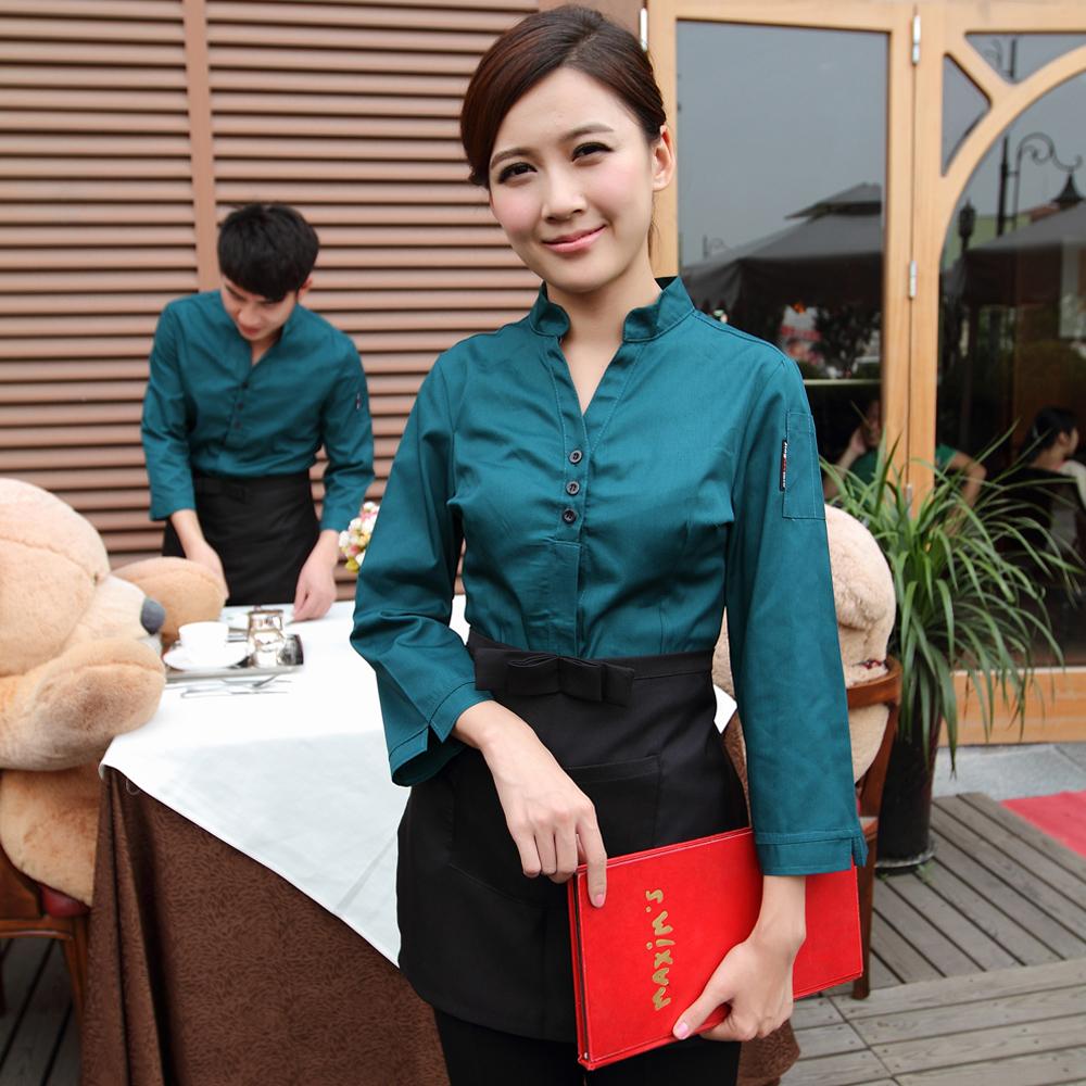 Отель Ming Фэн осень/зима одежды Упакованные рестораны кафе официантка с длинным рукавом женщин стойки регистрации Униформа