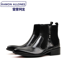Spring tide male boots England pointed cowboy boots cowhide boots head layer cowhide boots fashion boots men 6098-6