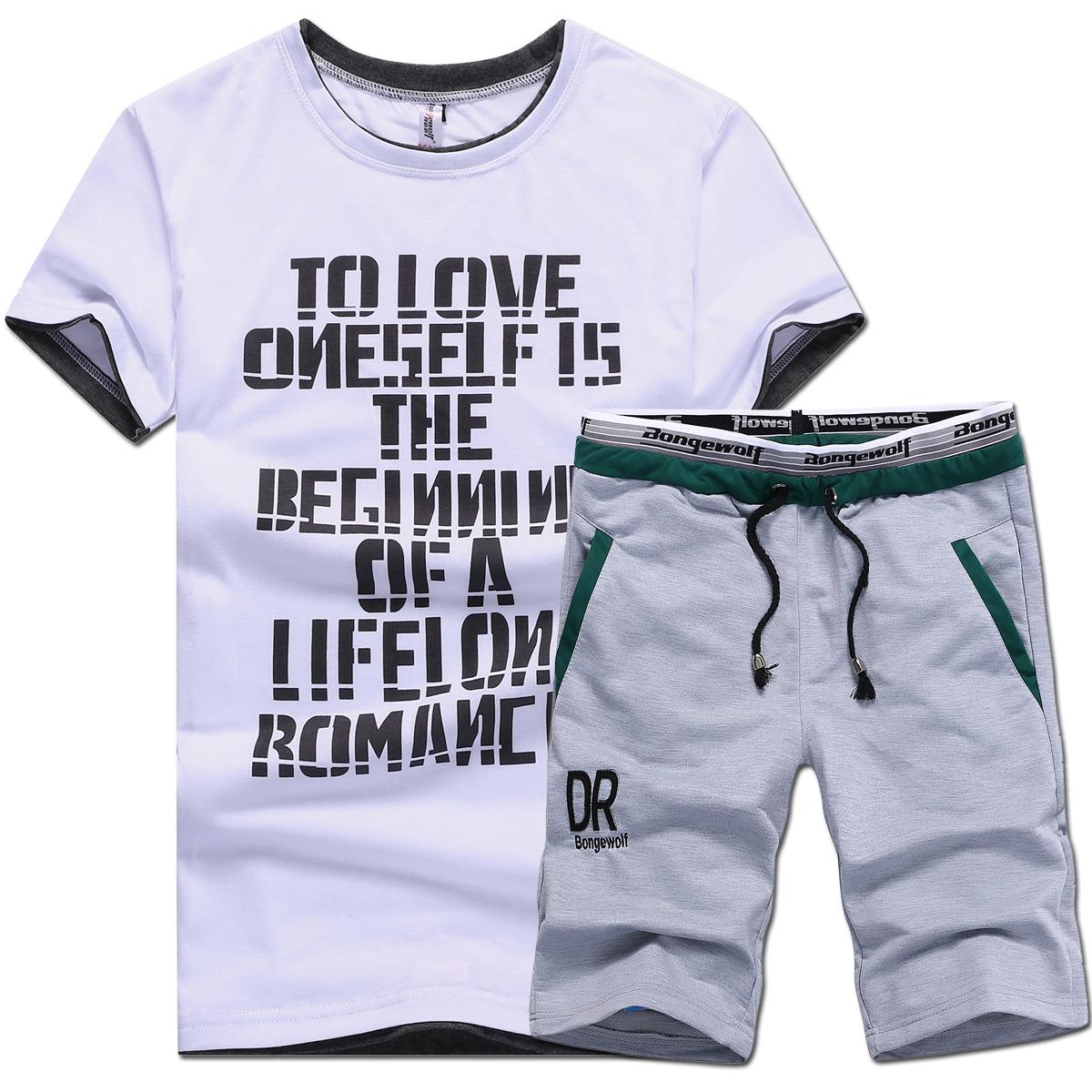 男士 套裝 圓領t恤 跑步服健身服男夏天短袖套裝男