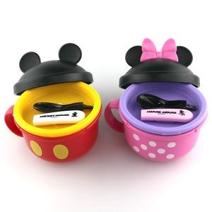 日本原装锦化成迪士尼米妮米奇宝宝辅食碗 餐具 勺子 日本制