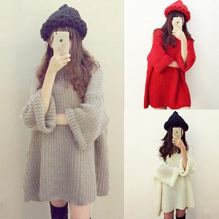 现货韩版马海毛粗针织毛衣蝙蝠袖女套头中长款连衣裙宽松慵懒8099