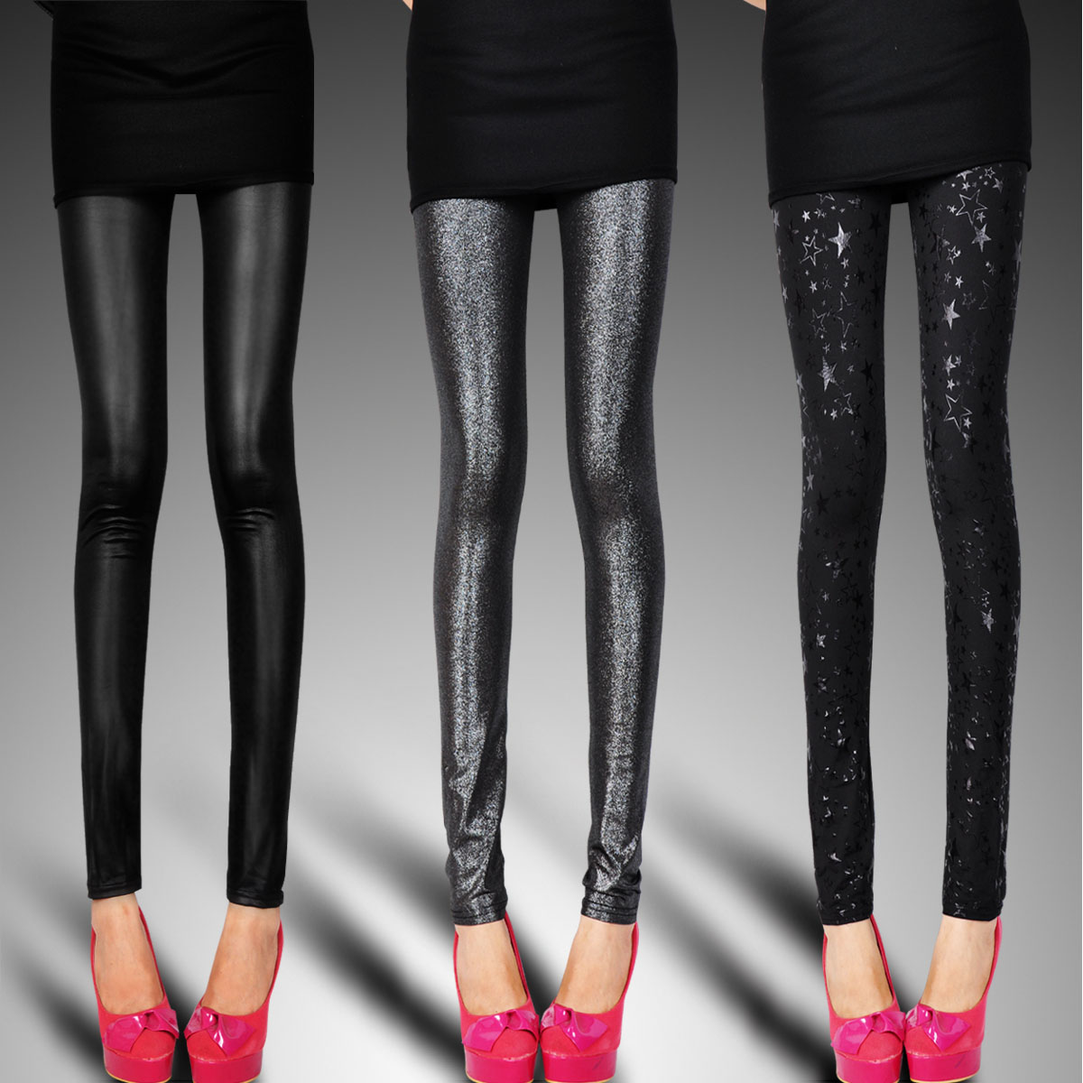 European and American spring and autumn style breathable Leggings with bright face and thin silver underpants leopard print tight womens Pants Black Matte