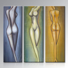 Pure hand-painted oil painting decoration bar KTV club club three human body painting decoration modern nude picture