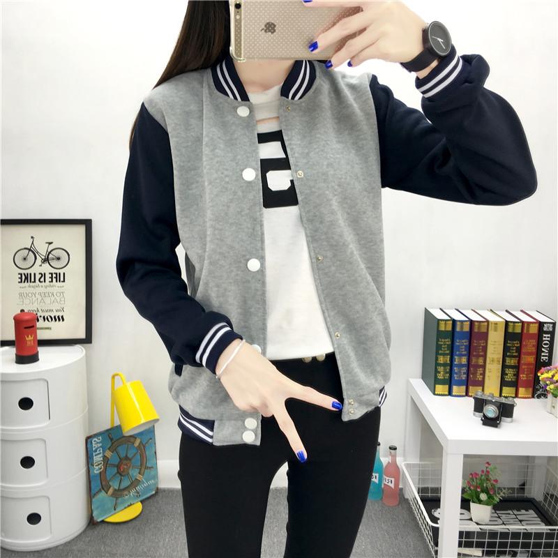 2016 подпружиненный новые подростковой бейсбол равномерное рубашку тонкий корейских подростков студентов свитер пальто куртки женщин Тайд