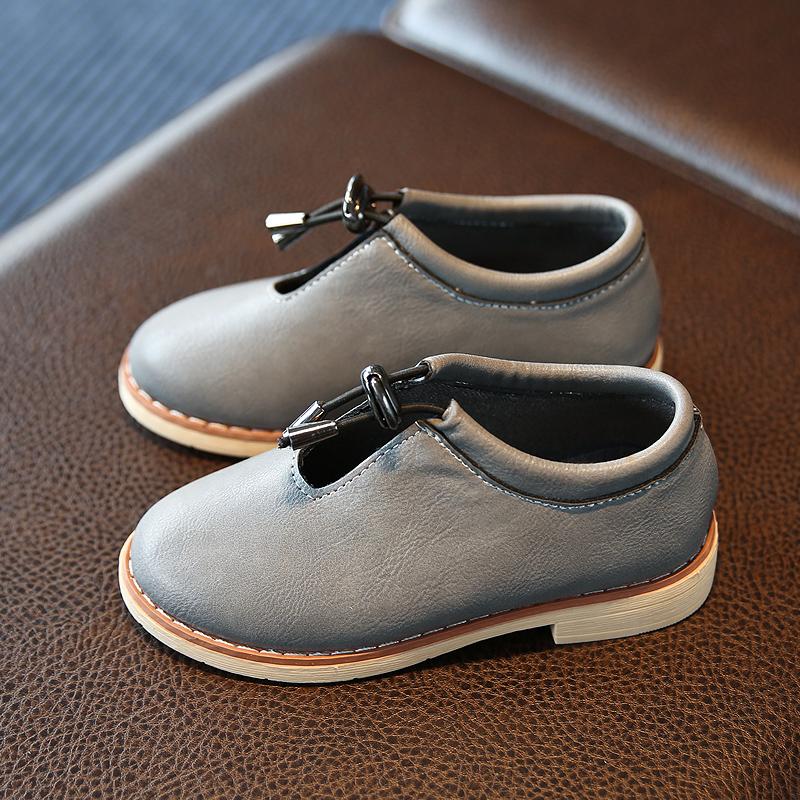 皮質軟麵兒童皮鞋馬丁鞋 單鞋束帶演出鞋男童女童學生英倫扣帶