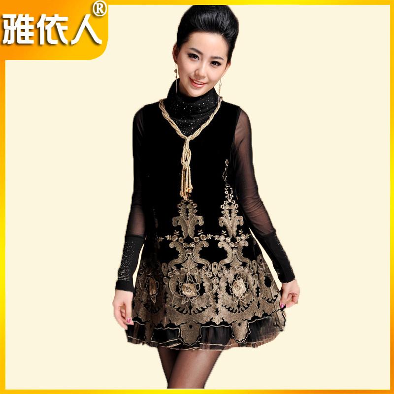 伊莲娜 2012新款女装背心刺绣蕾丝冬款连衣裙子修身显瘦A102318