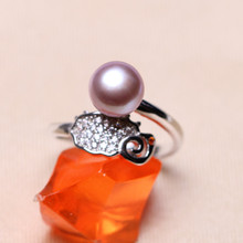 In the natural freshwater pearl ring, 925 silver ring ring, microscope, the mail