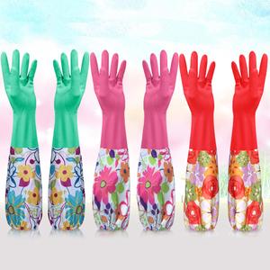 加长加绒束口手套女家务洗碗皮手套耐用防水洗碗厨房家居用品