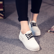 Fall 2015 low cut lace canvas shoes girl Korean version of casual shoes with thick-soled platform shoes students a solid color shoes wave