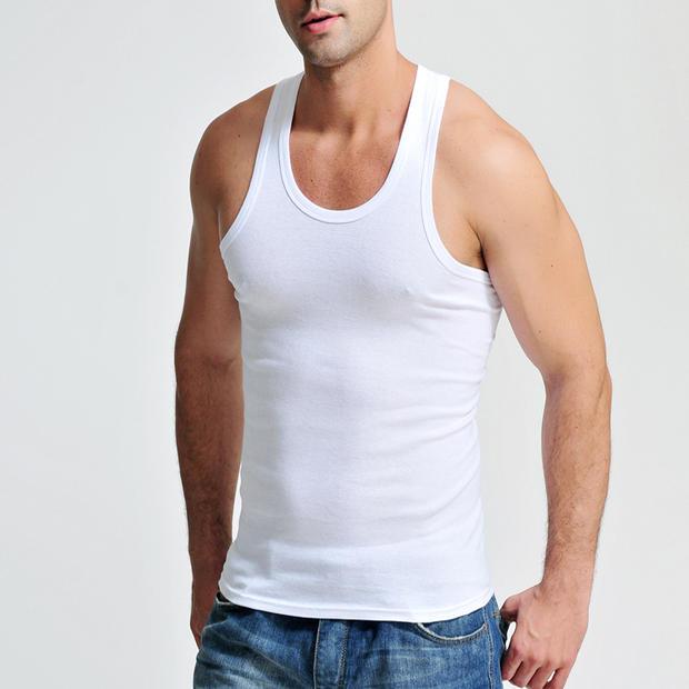 【毎日の特別価格】メンズスポーツベスト男性夏服純綿ベスト大サイズ純色ストレッチシャツ