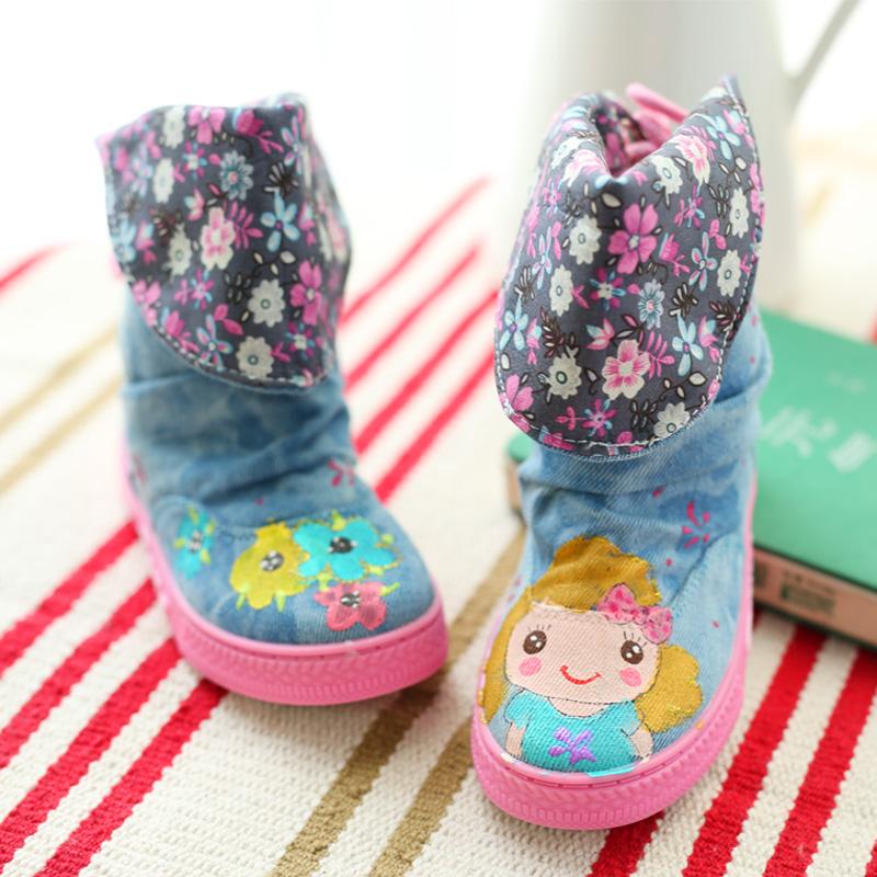 Новый осенний детей, ручная роспись Холст обувь детей обувь цветочные воздуха студентов среди Наций в тонкие лямки, бум Детская обувь