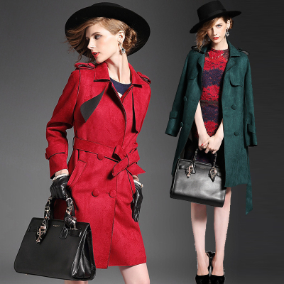 Fall 2015 new Europe and the United States of big shop sign of high-end women's British long-sleeved faux suede cultivate one's morality in the long trench coat