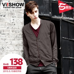 Knitting school in Europe and America viishow2015 spring v-neck Cardigan sweatshirts men's slim leisure jacket