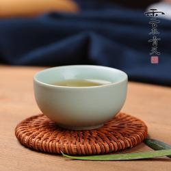 汝窑茶杯纯手工开片冰裂陶瓷功夫茶具小品茗杯子青瓷单杯昆腾