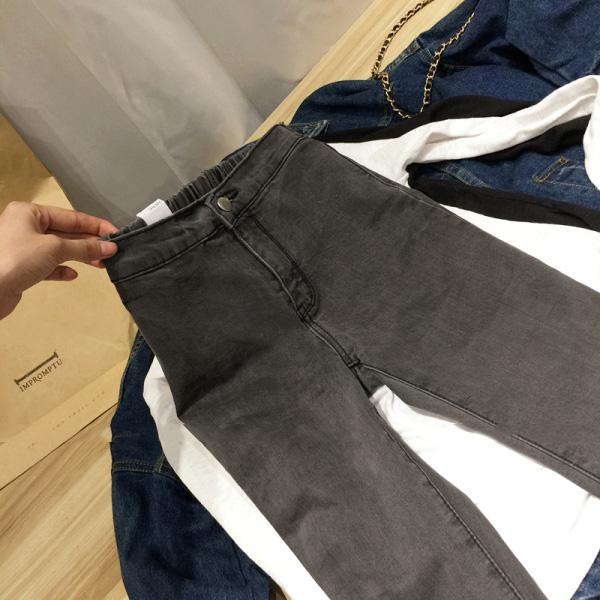 Упругие талии джинсы женские с связанные ноги Джокер Слим похудение темные воды плотно талии установка мытье джинсовые брюки насыпной метр