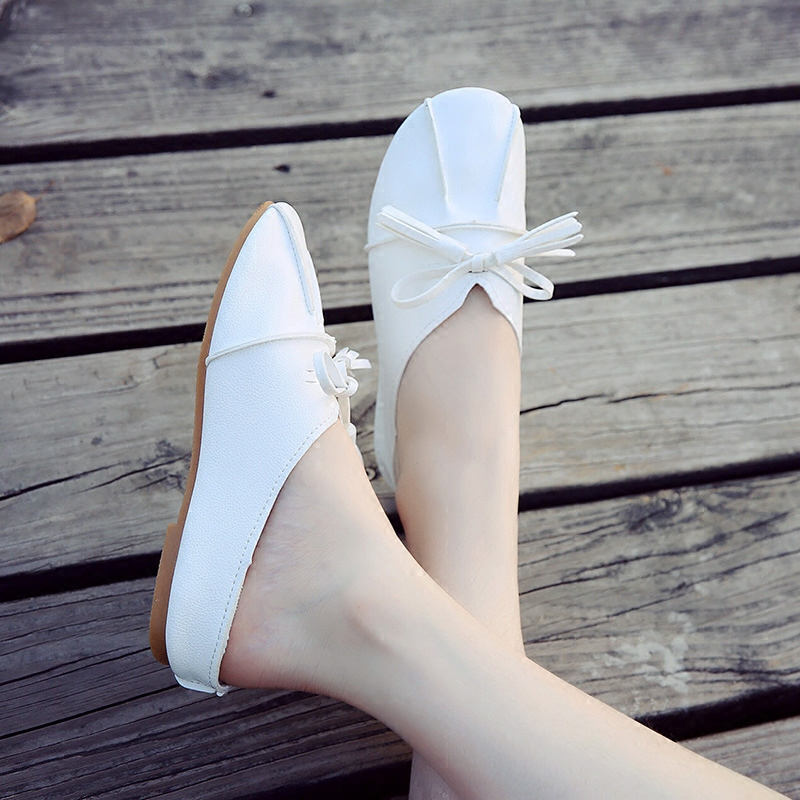 小白鞋女2017秋季新款单鞋百搭韩版奶奶鞋平底女鞋森女豆豆鞋子潮