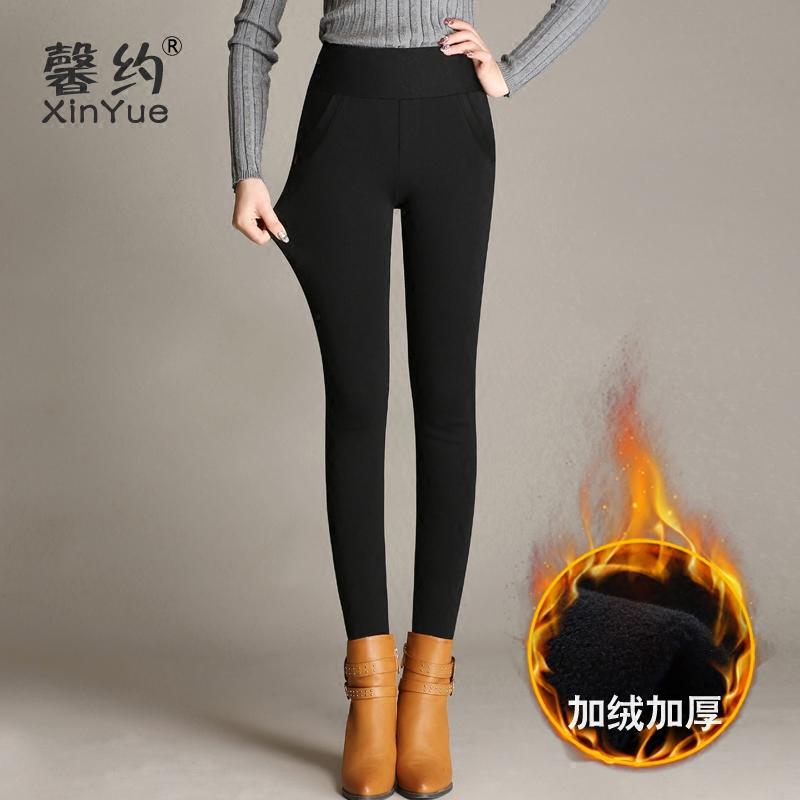 馨约冬季加绒靴裤外穿打底女裤加棉高腰黑色显瘦小脚紧身裤子女冬