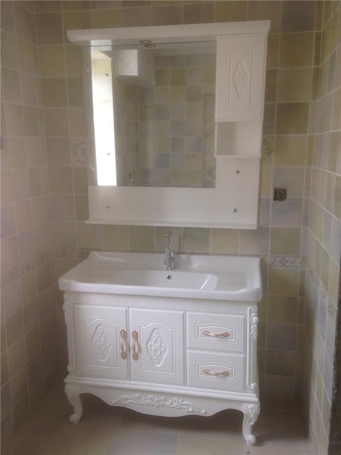 简欧浴室柜组合pvc 落地卫浴仿古柜洗漱柜 洗手台洗脸盆柜