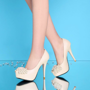 Strange love 2015 spring new Pearl rhinestone bow platform very high heels shoes Club shoes rose