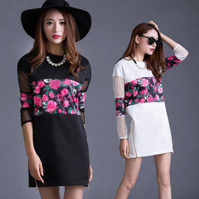 Seven new space space OTHERMIX2015 summer Floral printed stitching loose profile short-sleeved dress