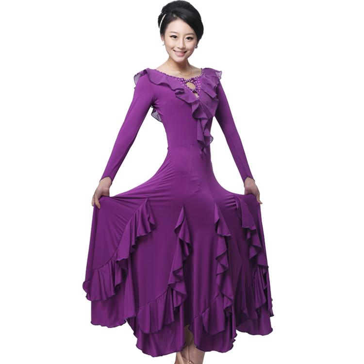 新款摩登舞裙长袖镶钻海带花边领连衣裙 交谊舞大摆裙 华尔兹舞裙