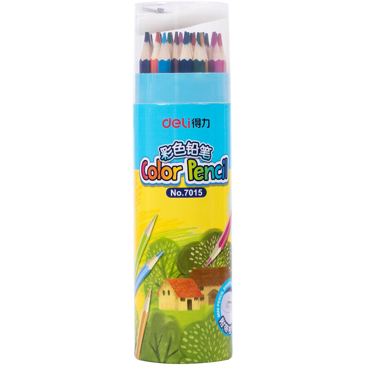 得力彩色铅笔12/18/24/36色筒装绘画铅笔 画画铅笔 彩铅儿童