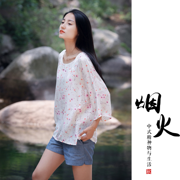 New Chinese style small fresh flower round neck light and breathable shirt