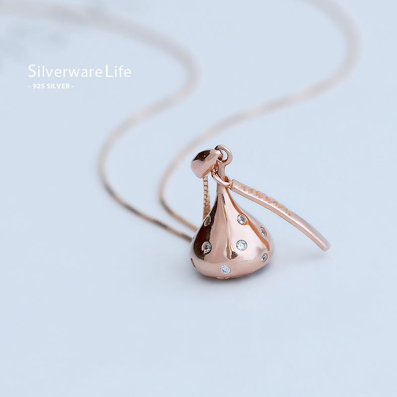 10月28日最新优惠余太太s925纯银玫瑰金色巧克力项链甜美锁骨链镂空气质时尚女款
