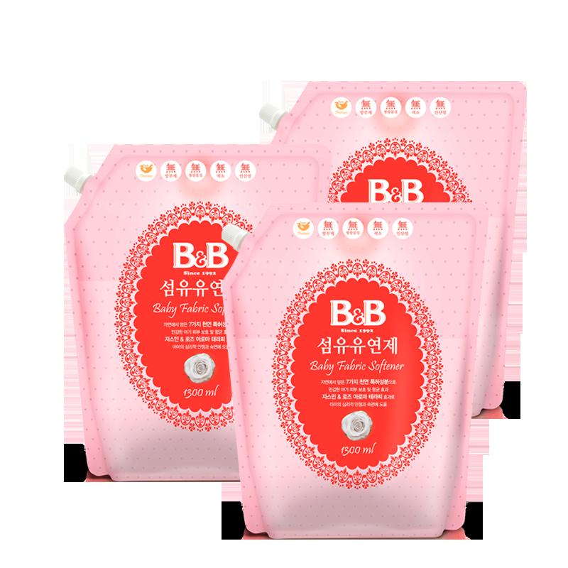 保寧韓國 嬰兒柔順劑 寶寶 衣物護理劑1.3L^~3袋套組
