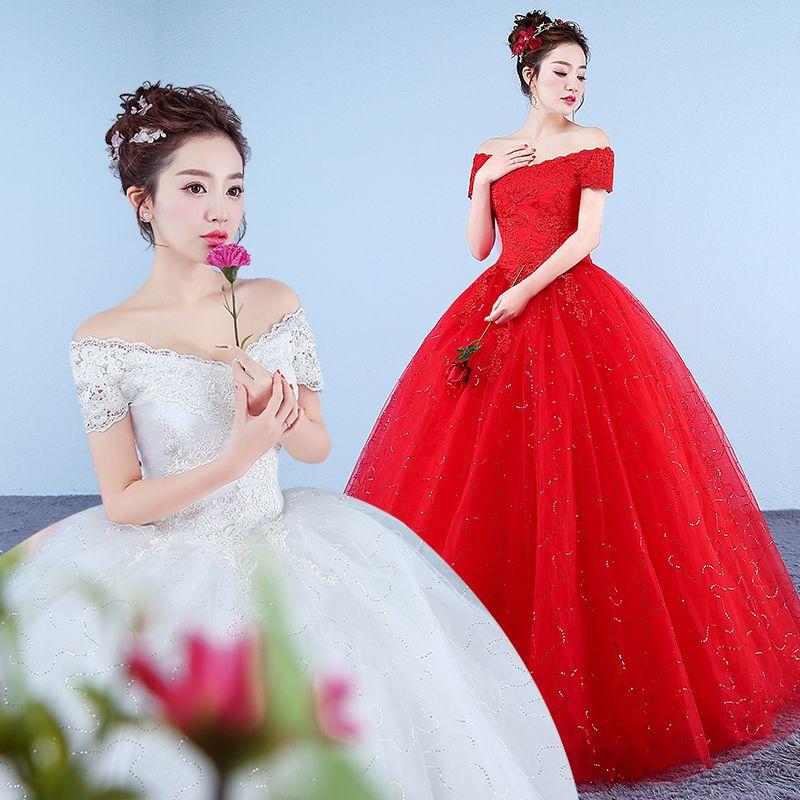 红色婚纱礼服2019新款婚纱一字肩显瘦修身宫廷韩式婚纱复古蓬蓬裙