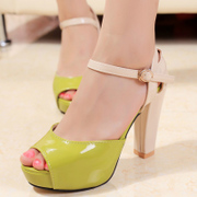 2015 summer Sandals designer shoes Korea Princess thin thick waterproof colour matching peep toes heels surge