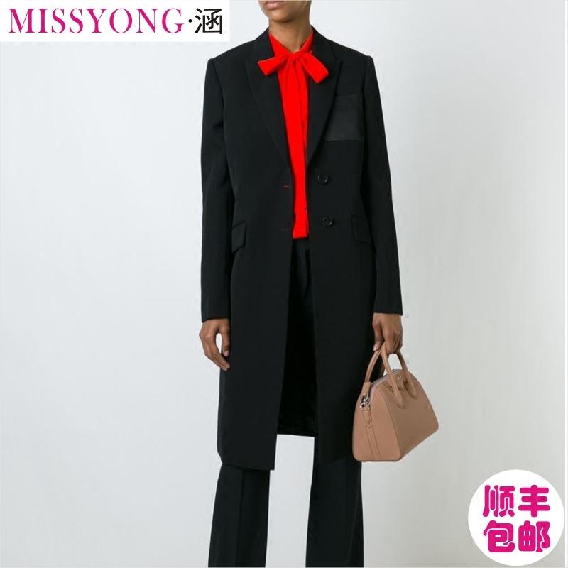 2018春新款欧美大牌高级私人定制女装收腰气质白搭黑色长西服外套