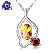 Natural gem crystal pendant S925 silver ornament necklace fashion classic topaz, garnet pendant