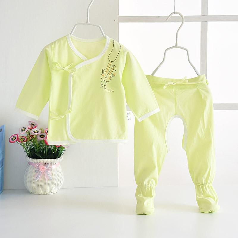 多比兔新生兒衣服 純棉綁帶連腳和尚服套裝 嬰兒內衣無骨睡衣