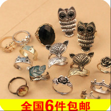 The owl fox gem ring Retro mouse cartoon bear rabbit ears ring jewelry jewelry