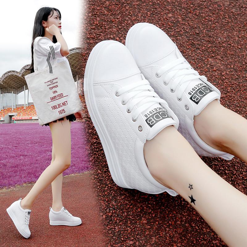 2018春秋季新款百搭韩版白鞋子内增高小白鞋女厚底街拍板鞋休闲鞋