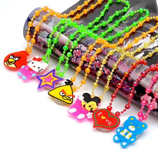珠子软胶闪光项链 发光吊坠夜光项链 地摊玩具批发厂家 多款混发