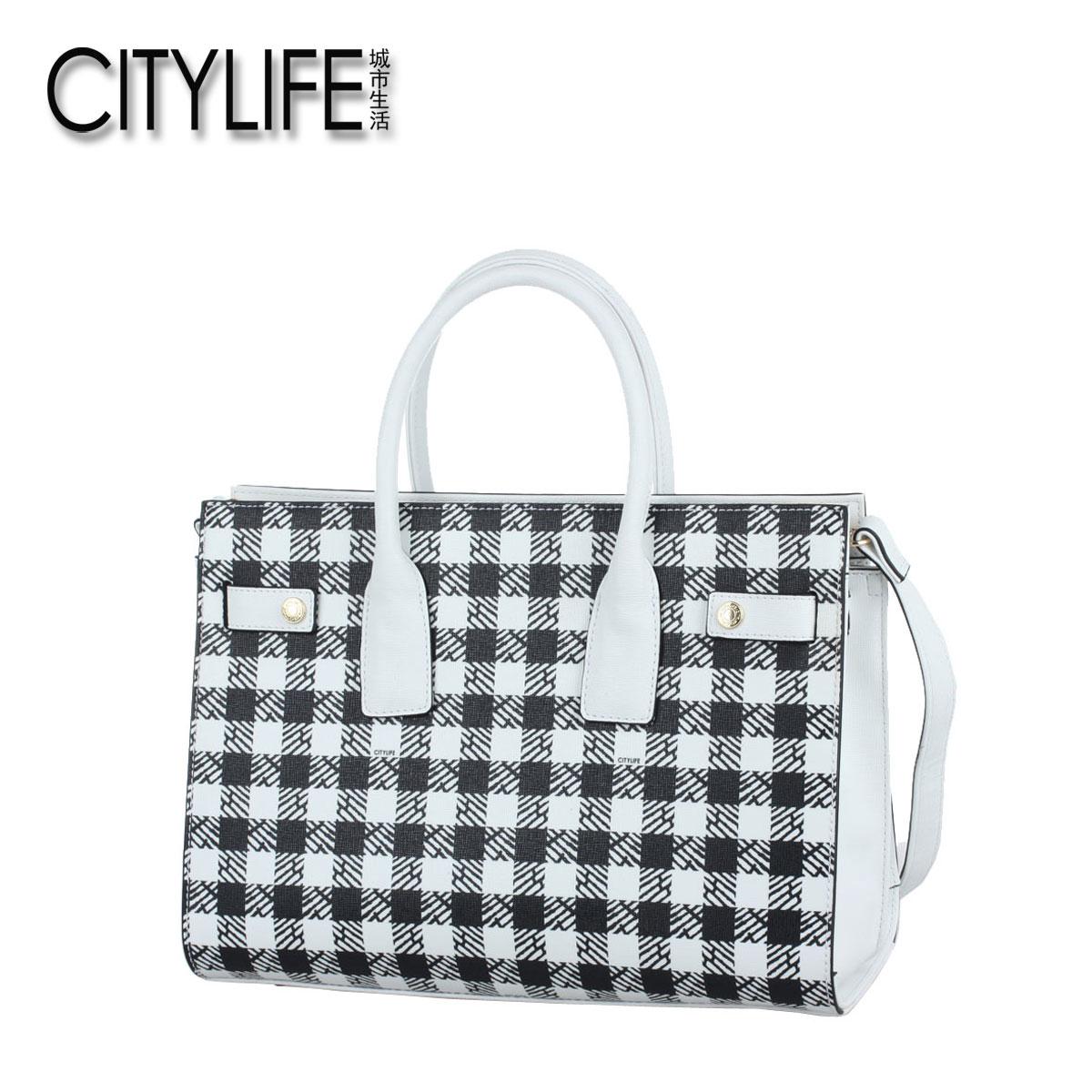 【售�r99】城市生活CITYLIFE格�y�渭缡痔崤�式包�⑹职�女