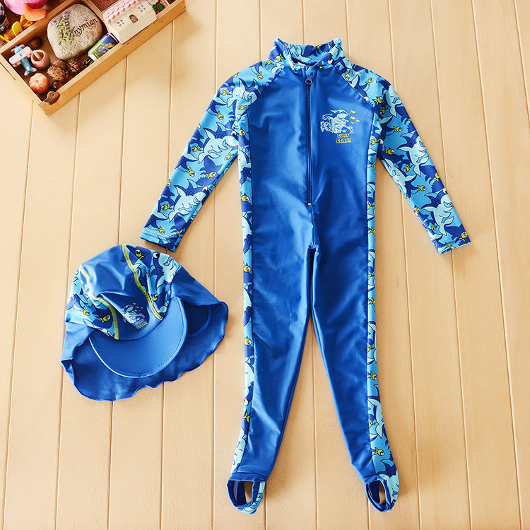 YAYING genuine new childrens boys swimsuit long sleeve trousers sunscreen one-piece anti ultraviolet diving swimsuit